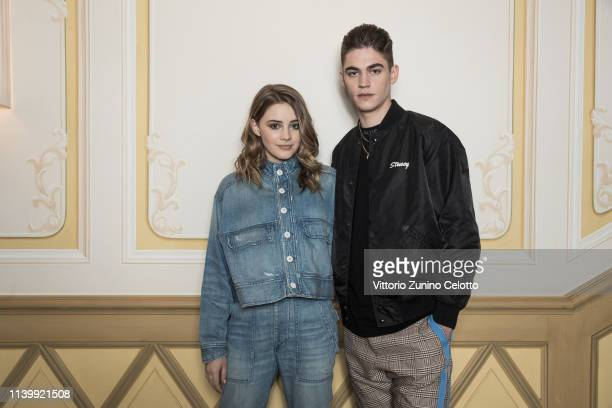 Josephine Langford and Hero Fiennes Tiffin pose for a portrait on March 29 2019 in Milan Italy