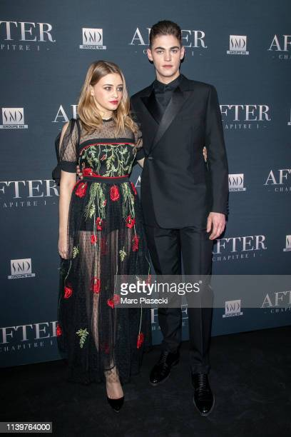Josephine Langford and Hero FiennesTiffin attend the 'After' screening at Hotel Royal Monceau Raffle on April 01 2019 in Paris France