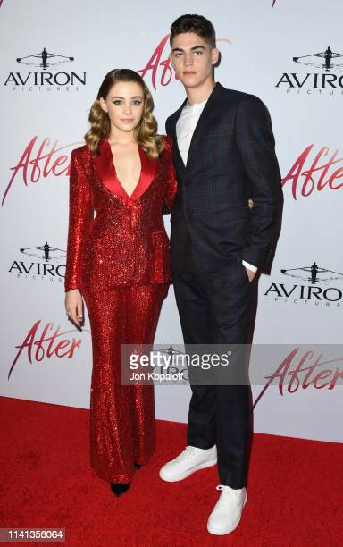 Josephine Langford and Hero FiennesTiffin attend the Los Angeles premiere of Aviron Pictures' After at The Grove on April 08 2019 in Los Angeles...