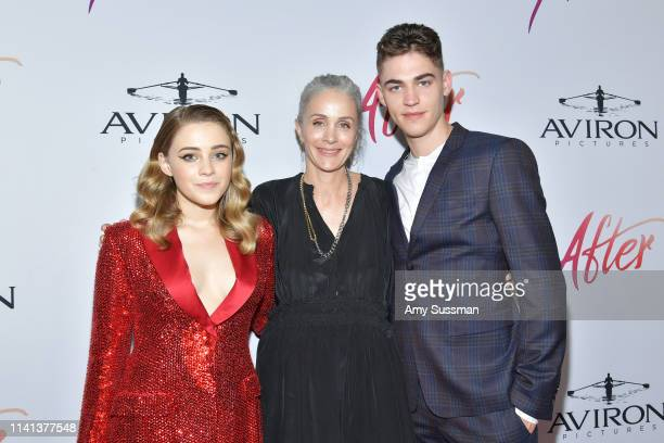 Josephine Langford director Jenny Gage and Hero FiennesTiffin attend the premiere of Aviron Pictures' After at The Grove on April 08 2019 in Los...