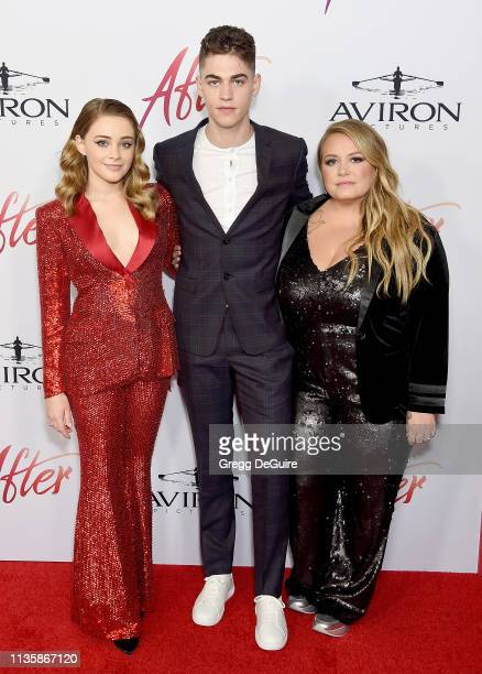 Josephine Langford Hero FiennesTiffin and Anna Todd attend the Los Angeles Premiere Of Aviron Pictures' After at The Grove on April 8 2019 in Los...
