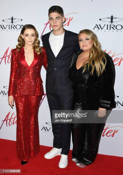 Josephine Langford Hero FiennesTiffin and Anna Todd attend the Los Angeles premiere of Aviron Pictures' After at The Grove on April 08 2019 in Los...