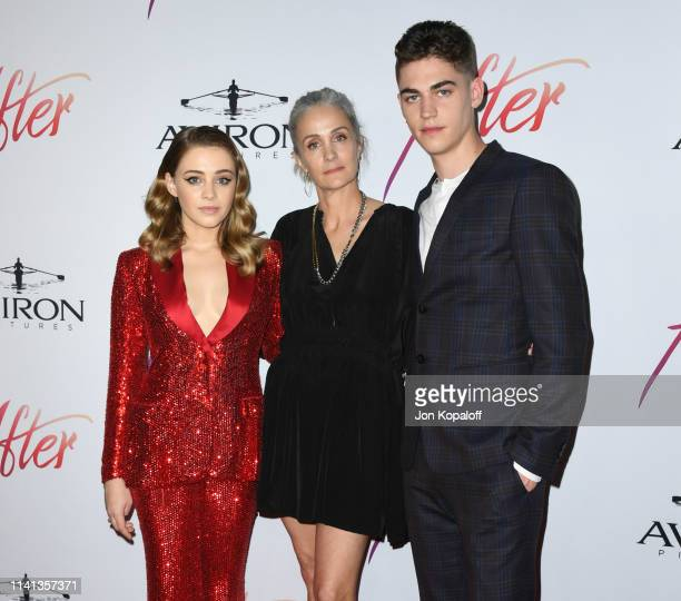 "Josephine Langford, Jenny Gage and Hero Fiennes-Tiffin attend the Los Angeles premiere of Aviron Pictures' ""After"" at The Grove on April 08, 2019 in..."