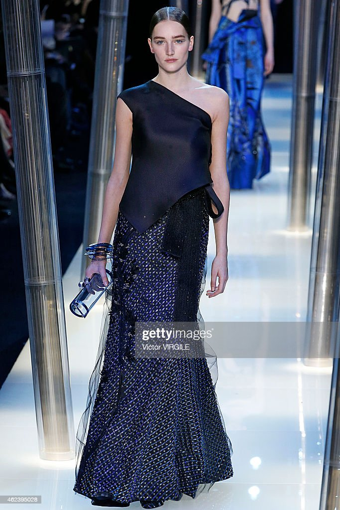 Josephine Le Tutour walks the runway during the Giorgio Armani Prive show as part of Paris Fashion Week Haute Couture Spring/Summer 2015 on January 27, 2015 in Paris, France.