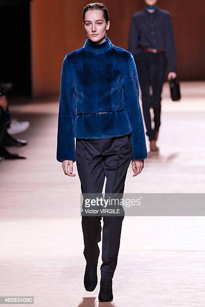 Josephine Le Tutour walks the runway during the Hermes show as part of the Paris Fashion Week Womenswear Fall/Winter 2015/2016 on March 9 2015 in...