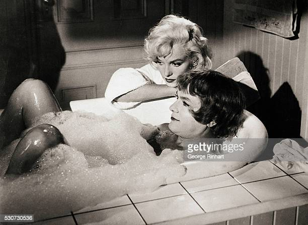 Josephine - really Joe - takes a bubble bath to conceal his true identity from Sugar Kane Kowalczyk in the comedy Some Like It Hot.