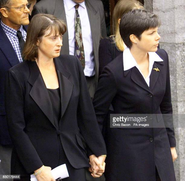 Josephine Reed wife of actor Oliver Reed with their daughter Sarah following a service at St James Church in Malllow County Cork Oliver Reed who...