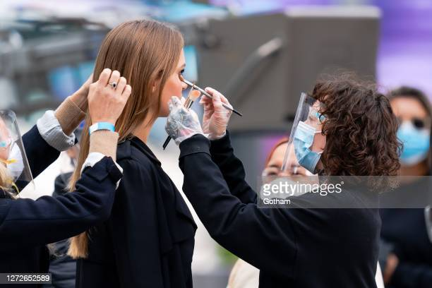 Josephine Skriver and Erin Parsons are seen during a photoshoot for Maybelline at the Oculus as the city continues Phase 4 of reopening following...