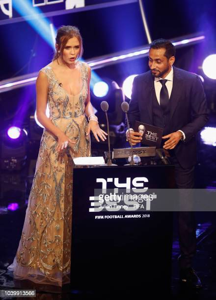 Josephine Skriver and Sami AlJaber Chairman of AlHilal FC presents the The Best FIFA Fan Award during The Best FIFA Football Awards at Royal Festival...