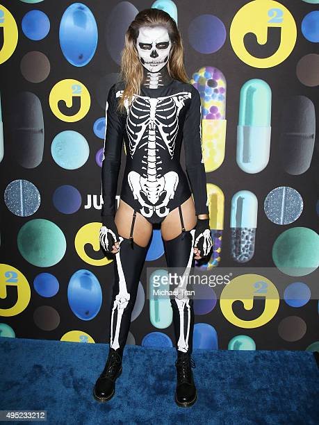 Josephine Skriver arrives at the Just Jared Halloween Party held at No Vacancy on October 31 2015 in Los Angeles California