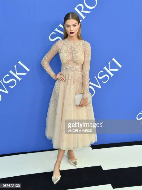 Josephine Skriver arrives for the 2018 CFDA Fashion awards June 4 2018 at The Brooklyn Museum in New York