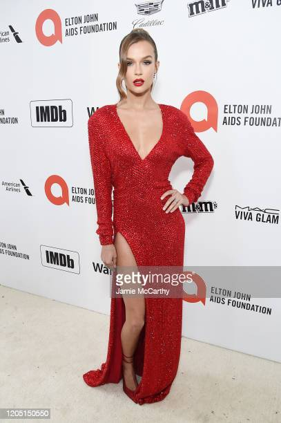 Josephine Skriver attends the 28th Annual Elton John AIDS Foundation Academy Awards Viewing Party sponsored by IMDb, Neuro Drinks and Walmart on...