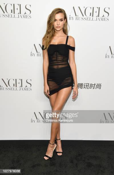 Josephine Skriver attends the ANGELS by Russell James book launch and exhibit hosted by Cindy Crawford and Candice Swanepoel at Stephan Weiss Studio...