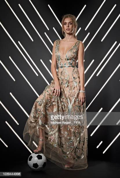 Josephine Skriver is pictured inside the photo booth prior to The Best FIFA Football Awards at Royal Festival Hall on September 24 2018 in London...