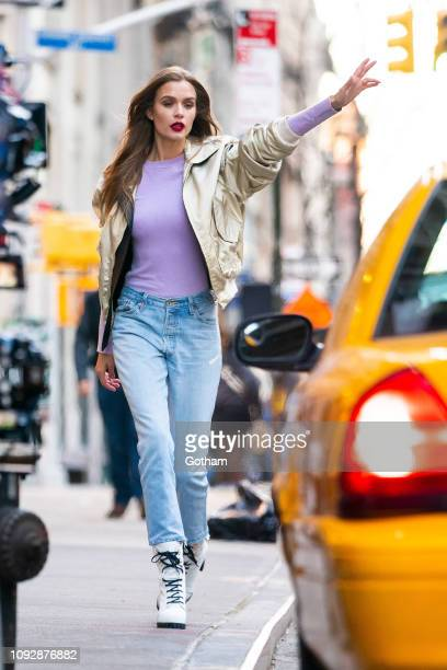 Josephine Skriver is seen during a photo shoot for Maybelline in the Flatiron District on January 11 2019 in New York City