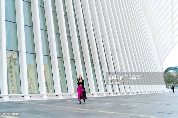 Josephine Skriver is seen during a photoshoot for Maybelline at the Oculus as the city continues Phase 4 of reopening following restrictions imposed...
