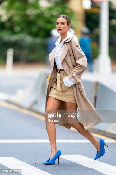 Josephine Skriver is seen during a photoshoot for Maybelline in the Flatiron District as the city continues Phase 4 of re-opening following...