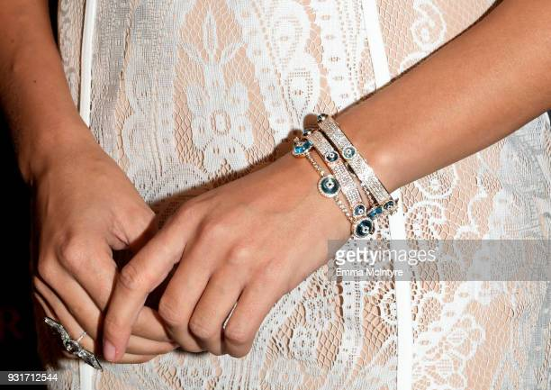 Josephine Skriver jewelry detail attends Lorraine Schwartz launches The Eye Bangle a new addition to her signature Against Evil Eye Collection at...