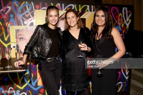 Josephine Skriver Laetitia Raost and Kristen Tully attend the Maybelline New York x V Magazine Party at the Nomo Soho Hotel on February 11 2018 in...