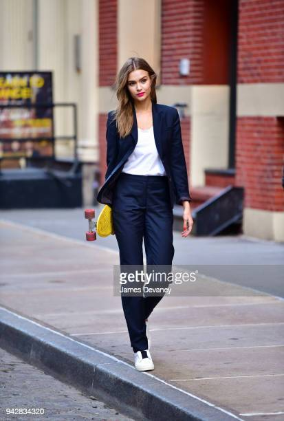 Josephine Skriver poses for a Maybelline photo shoot in SoHo on April 5 2018 in New York City