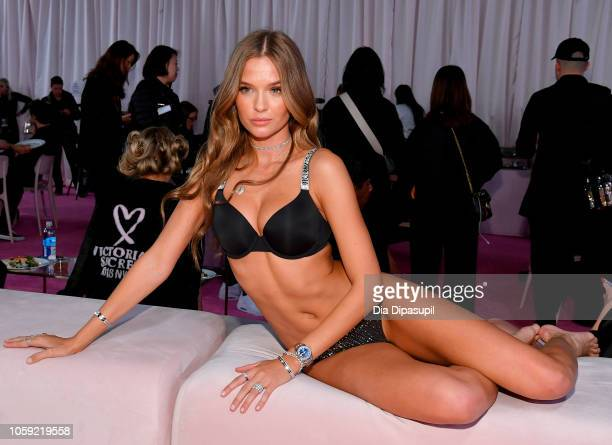 Josephine Skriver prepares backstage during 2018 Victoria's Secret Fashion Show in New York at Pier 94 on November 8 2018 in New York City
