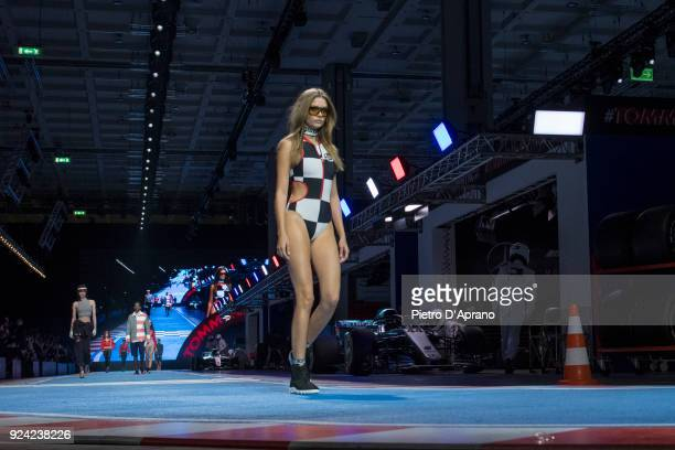 Josephine Skriver walks the runway at the Tommy Hilfiger show during Milan Fashion Week Fall/Winter 2018/19 on February 25 2018 in Milan Italy