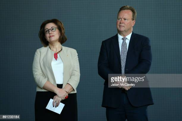 Josephine Sukkar and Rugby Australia CEO Bill Pulver look on during a Rugby Australia press conference at the Rugby Australia Building on December 13...