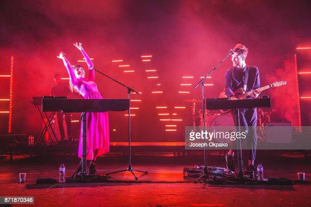 Josephine Vander Gucht and Anthony West of Oh Wonder perform live on stage at O2 Academy Brixton on November 8 2017 in London England