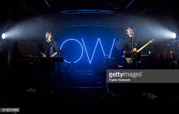Josephine Vander Gucht and Anthony West of the British band Oh Wonder perform live during a concert at the Postbahnhof on March 1 2016 in Berlin...