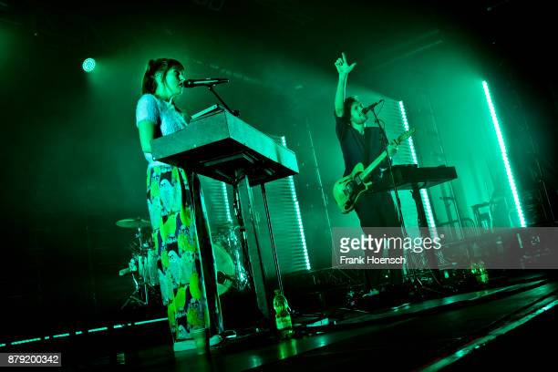 Josephine Vander Gucht and Anthony West of the British band Oh Wonder perform live on stage during a concert at the Huxleys on November 25 2017 in...