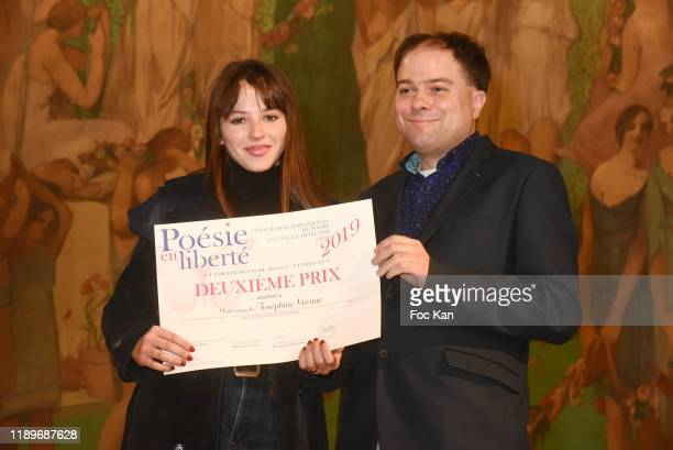 Josephine Vernay and Mathias Vincenot onstage during the Poesie En Liberté 2019 Awards Ceremony at Mairie Du 5eme on November 23 2019 in Paris France