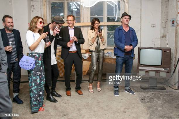 Josephine von Thiel, Wolfram Becker, Gerit Kling and Detlev Buck during the nominees announcement of the German Play Award 2018 at...