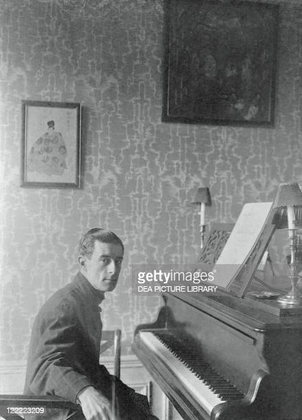 JosephMaurice Ravel French composer and pianist in his flat on Carnot avenue Paris March 1912