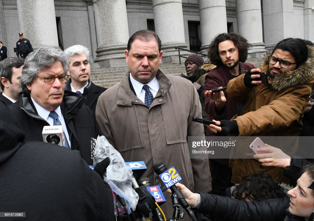 Joseph Percoco, a former top aide to Governor Andrew Cuomo, center, exits federal court with his attorney Barry Bohrer, left, in New York, U.S., on Tuesday, March 13, 2018. Percoco was found guilty on Tuesday of conspiracy to commit honest services wire fraud and solicitation of bribes. Photographer: Louis Lanzano/Bloomberg via Getty Images