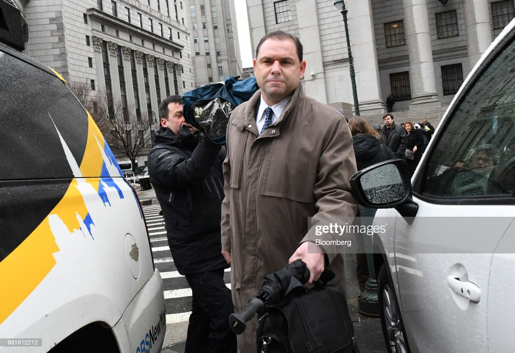 Joseph Percoco, a former top aide to Governor Andrew Cuomo, center, exits federal court in New York, U.S., on Tuesday, March 13, 2018. Percoco was found guilty on Tuesday of conspiracy to commit honest services wire fraud and solicitation of bribes. Photographer: Louis Lanzano/Bloomberg via Getty Images