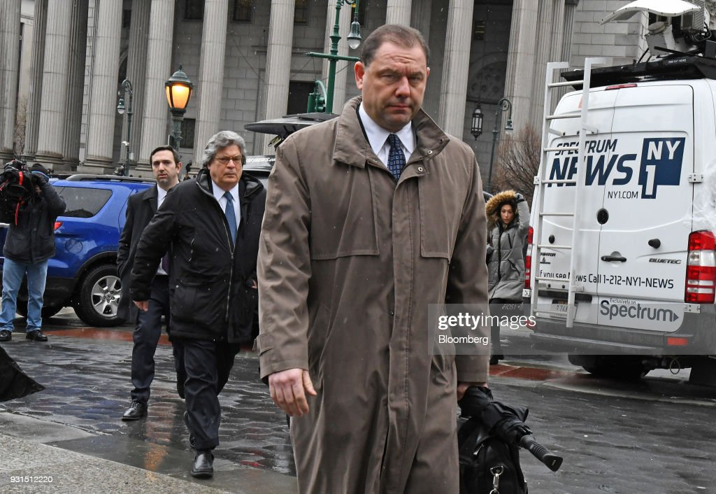 Joseph Percoco, a former top aide to Governor Andrew Cuomo, exits federal court with his attorney Barry Bohrer, left, in New York, U.S., on Tuesday, March 13, 2018. Percoco was found guilty on Tuesday of conspiracy to commit honest services wire fraud and solicitation of bribes. Photographer: Louis Lanzano/Bloomberg via Getty Images