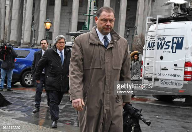 JosephPercoco a former top aide to Governor Andrew Cuomo exits federal court with his attorney Barry Bohrer left in New York US on Tuesday March 13...