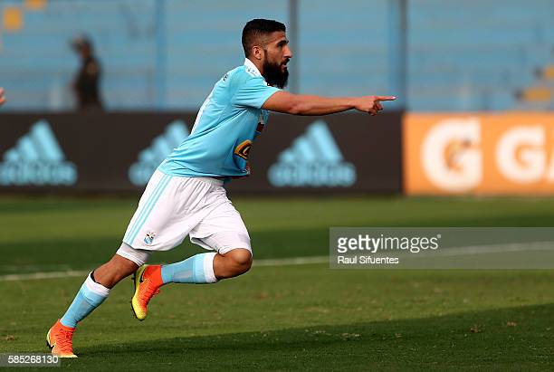 Josepmir Ballon of Sporting Cristal celebrates after scoring the opening goal during a match between Sporting Cristal v Juan Aurich as part of Torneo...