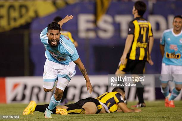 Josepmir Ballon of Sporting Cristal hits the ball to score the second goal of his team during a match between Guarani and Sporting Cristal as part of...