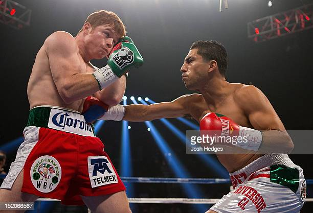 Josesito Lopez lands a right to the body of Canelo Alvarez during their WBC super welterweight title fight at MGM Grand Garden Arena on September 15...