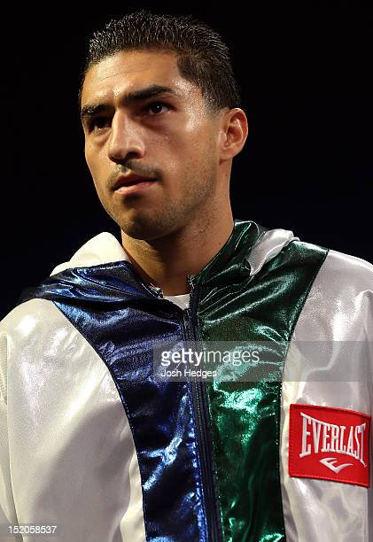 Josesito Lopez prepares to enter the ring before challenging Canelo Alvarez in a WBC super welterweight title fight at MGM Grand Garden Arena on...