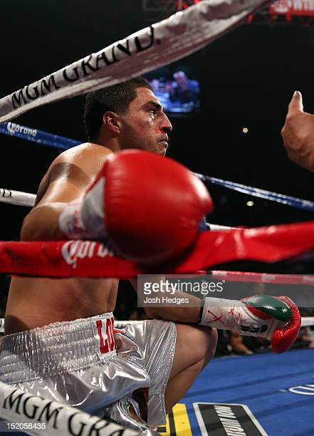 Josesito Lopez receives a count from referee Joe Cortez after being knocked down by Canelo Alvarez during their WBC super welterweight title fight at...
