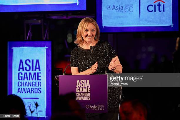Josette Sheeran the current president and CEO of Asia Society welcomes guests during the the 2016 Asia Game Changers Awards held at the United...