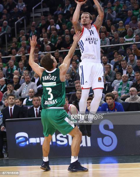 Josh Adams #14 of Anadolu Efes Istanbul competes with Kevin Pangos #3 of Zalgiris Kaunas in action during the 2017/2018 Turkish Airlines EuroLeague...