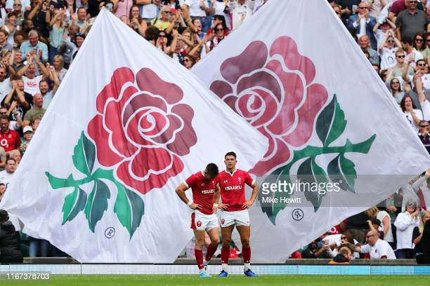Josh Adams and Owen Watkin of Wales react following defeat in the 2019 Quilter International match between England and Wales at Twickenham Stadium on...