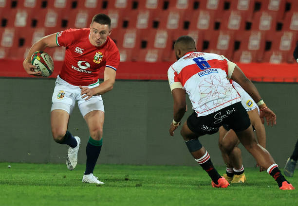 JOHANNESBURG, SOUTH AFRICA - JULY 03: Josh Adams of the British and Irish Lions, breaks with the ball during the Sigma Lions v British & Irish Lions tour match at Emirates Airline Park on July 03, 2021 in Johannesburg, South Africa. (Photo by David Rogers/Getty Images)