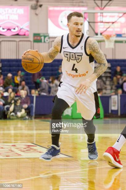 Josh Adams of the Raptors 905 dribbles into position against the Maine Red Claws on Saturday February 9 2019 at the Portland Expo in Portland Maine...