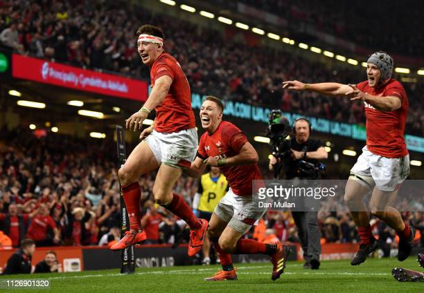 Josh Adams of Wales celebrates scoring his team's second try during the Guinness Six Nations match between Wales and England at Principality Stadium...