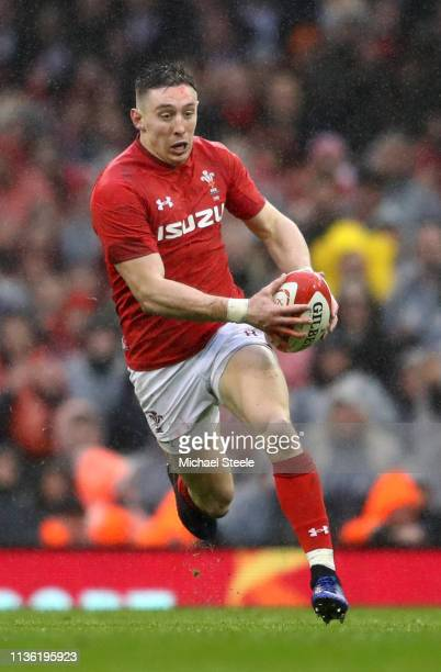 Josh Adams of Wales in action during the Guinness Six Nations match between Wales and Ireland at Principality Stadium on March 16 2019 in Cardiff...