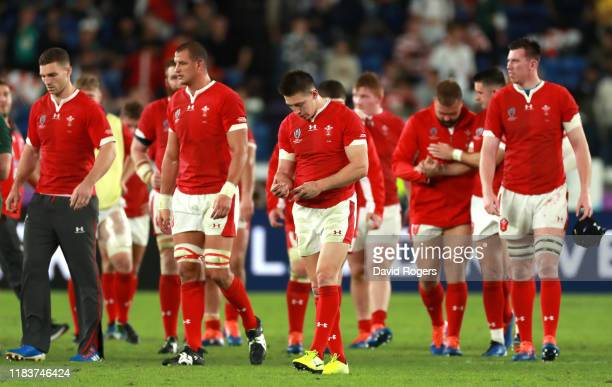 Josh Adams of Wales reacts at full time during the Rugby World Cup 2019 SemiFinal match between Wales and South Africa at International Stadium...